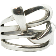Vintage Sterling Silver 925 Modernist Style Woven Ribbon Knot Ring Size 8.5
