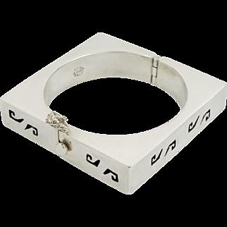 Vintage Taxco Square Box Bangle Hinged Mexican Bracelet