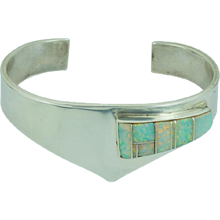 Kay Johnson Anglo Handmade Navajo Southwestern Opal Cuff Bracelet
