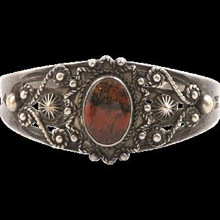 Vintage Sterling Silver Navajo Red Black Jasper Handmade Cuff Bracelet