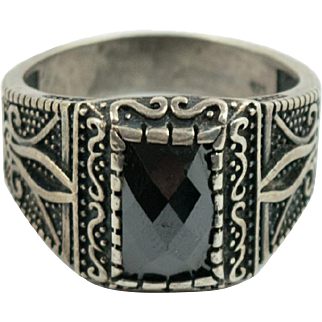 Vintage Mens Sterling Silver Onyx Ring Size 12.5