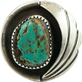 Vintage Handmade Sterling Silver Turquoise Navajo Southwestern Style Ring