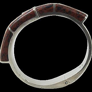 Vintage Mexican Sterling Silver Red Jasper Cuff Clamper Bracelet