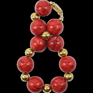 Cherry Red Marble Swirl Bakelite Vintage Upcycled Bracelet Extra Large Size