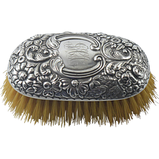 Antique Victorian Aesthetic Gorham Sterling Repousse Hand Brush Clothes Hat Vanity