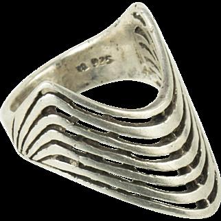 Vintage Modernist Sterling Silver Handmade Long 7 Wave Ring 9.5
