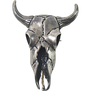STC Sterling Silver Cow Skull Southwestern Pin