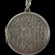 Vintage Sterling Silver Flower Locket Pendant Necklace