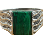 Vintage Sterling Silver Handmade Green Banded Malachite Ring Mens