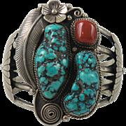 Large Vintage Navajo Sterling Silver Kingman Turquoise Cuff Bracelet