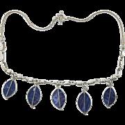Vintage 950 Silver Sodalite Leaf Dangle Necklace