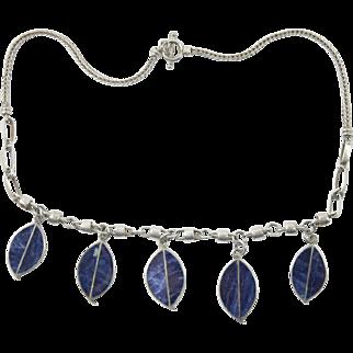 Vintage 950 Silver Lapis Leaf Dangle Necklace