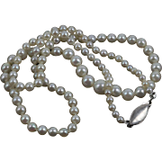 Vintage Art Deco Natural Ocean Sea Pearls Graduated Necklace Restrung