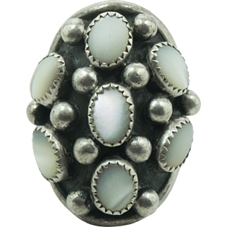 Vintage Sterling Silver Mother of Pearl Cluster Ring by Navajo Artist J. Roybal