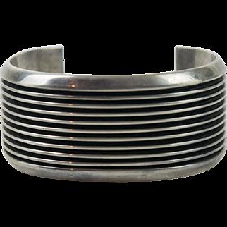 Vintage Sterling Silver Navajo Southwestern Ridge Cuff Bracelet