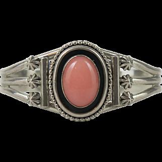 Vintage Sterling Silver Navajo Running Bear Angel Skin Coral Bracelet
