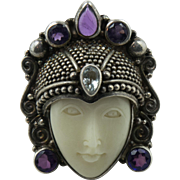 Vintage Sterling Silver Sajen Goddess Adjustable Ring with Amethyst Stones Size: 8 to 9