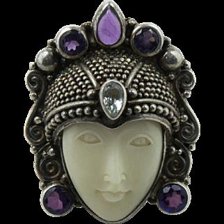 Vintage Sterling Silver Sajen Goddess Adjustable Ring with Amethyst Stones Size: 8 to 9