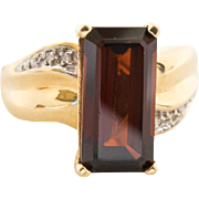 XL Mid Century 14K Gold 8CT Garnet Diamond Tall Ring 8.75