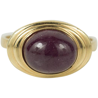 Antique Art Deco 14K Gold Star Ruby Cab Ring 7.5