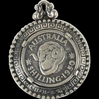 Vintage 1950 Shilling Fancy Coin Sterling Silver Pendant