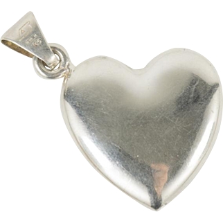 Vintage Italian Sterling Silver Puffy Heart Pendant