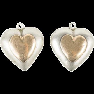 2 Vintage Sterling Silver 14k Gold Heart Dangles For Earrings Pendants