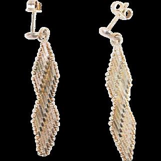 1970s Vintage Brutalist Flex Mesh Sterling Silver Earrings