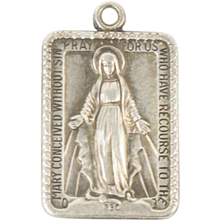 Vintage Art Deco Miraculous Mary Of Miracles Sterling Silver Pendant Catholic Christian