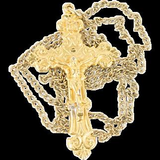 Vintage 1/20 12K Gold Filled Fancy Crucifix Necklace Mens Womens