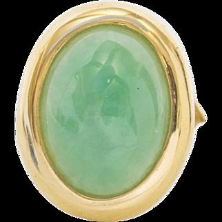 Vintage 14k Yellow Gold Jade Jadeite Nephrite 18m Cabachon Ring Size 6 3/4
