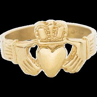 Vintage 14k Gold Handmade Ladies Irish Claddagh Ring