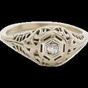 Antique Edwardian To 1920 Early Art Deco 14k White Gold Filigree Diamond Ring Size 7
