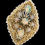 Fancy Vintage 14k Gold Filigree Opal Ring 6