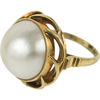 Large Vintage 14k Yellow Gold Natural 16mm Mabe Pearl Ring Size 7