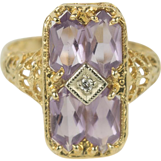 Vintage Fancy Filigree 14k Gold Amethyst Diamond Ring 7