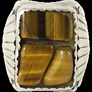 Vintage Southwestern Heavy Sterling Silver Tiger Eye Mens Ring 9