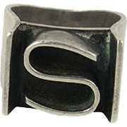 Antique Sterling Silver Letter S Signet Seal Ring Wide Cigar Band Size 5.5