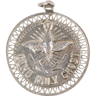 Vintage Sterling Silver Holy Ghost Prayer Charm Pendant Christian Catholic