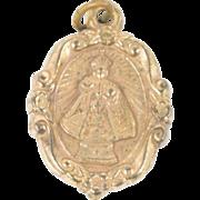 Antique Victorian Heart Of Jesus Infant Of Prague Christian Catholic Pendant Medal Fob