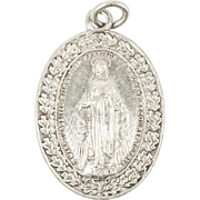 Vintage Art Deco Sterling Silver Miraculous Mary Pendant Christian Catholic