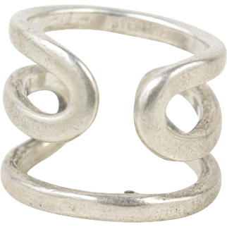 Mid Century Sterling Silver Loop Ring Size 6