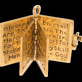 14k Gold Prayer Bible Charm Hinged Vintage Christian