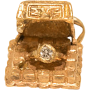 Vintage 14k Gold And Diamond Ring Jewelry Box Charm