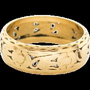 Vintage Art Deco 14k Gold Pierced Wide 1/4″ Cigar Band Ring Size 7.5