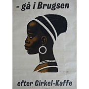 1955 Danish Coffee Advertisement (Cirkelkaffe) - Original Vintage Poster