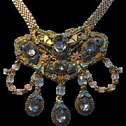 Vintage One Of A Kind Enamel & Crystal Festoon Style Choker Necklace & Earrings Set