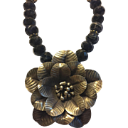 Silver Flower Pendant & Faceted Sodalite Beaded Necklace