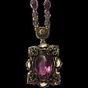 Art Nouveau Brass & Purple Glass Stone Necklace
