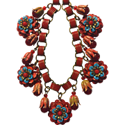 Red Enamel Floral Bookchain Necklace